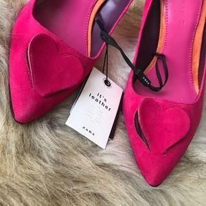 90a1c87d985 Zara Shoes - ZARA PINK CUT OUT HEART HIGH HEELS